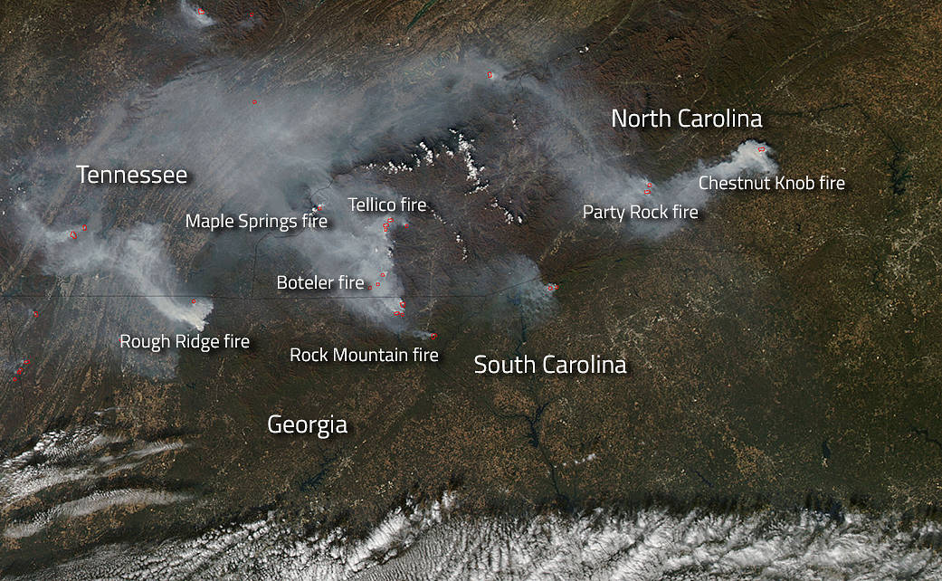 NASA / Fires Blazing Across the Southern United States